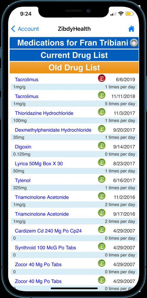 Medication List display